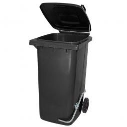 Müllbehälter 240 Liter, anthrazit, mit Fußpedal, HxBxT 1075x580x730 mm, Niederdruck-Polyethylen (PE-HD)