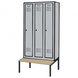 Kleiderspind mit untergebauter Sitzbank und Drehriegelverschluss, HxBxT 2090x900x500/815 mm