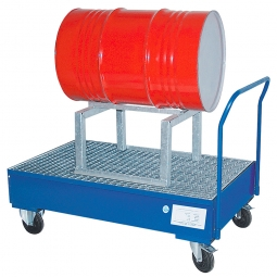 Fahrbare Stahl-Auffangwanne, blau, 1x liegend, LxBxH 1340 x 860 x 425 mm, Tragkraft 500 kg, Gewicht 99 kg