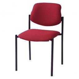 Besucherstuhl, Gestell schwarz, Polster rot, stapelbar, BxTxH 500x550x820 mm, Sitzhöhe 460 mm.