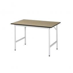 Arbeitstisch mit MDF-Tischplatte, BxTxH 1500x800x800-850 mm, Gestell lichtgrau RAL 7035