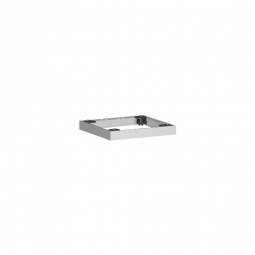 Metallsockel, alusilber, BxH 400x50 mm, mit Bodenausgleichsfüßen
