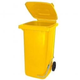 Müllbehälter 240 Liter, gelb, mit Fußpedal, HxBxT 1075x580x730 mm, Niederdruck-Polyethylen (PE-HD)