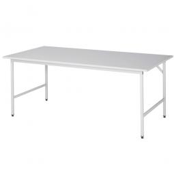 Arbeitstisch mit Melaminharz-Tischplatte, BxTxH 2000x1000x800-850 mm, Gestell lichtgrau RAL 7035