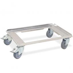 Aluminium-Transportroller für 600 x 400 mm Behälter, 4 Lenkrollen davon 2 mit Feststellbremse, Räder mit grauen Gummilaufflächen