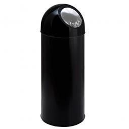 Push-Abfallbehälter, Inhalt 55 Liter, schwarz, HxØ 820x310 mm, Stahlblech, Einwurföffnung Ø 160 mm