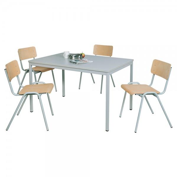 Mehrzweck-Sitzgruppe, 4 Stahlrohr-Stühle + 1 Kantinentisch, LxBxH 1200x800x750 mm, lichtgrau