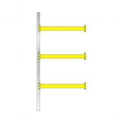 Paletten-Anbauregal mit 3 Paar Tragbalken für 8 Europaletten , Fachlast 2400 kg/Tragbalkenpaar, BxTxH 1885 x 1100 x 4000 mm