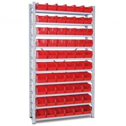 Steckregal, verzinkt, HxBxT 2000x1070x315 mm, 10 Böden, 60 Sichtboxen LB 4 Farbe rot