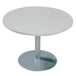 Konferenztisch mit Säulenfuß, alusilber, Platte Office-grau, Ø 800 mm, Höhe 720 mm