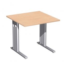Schreibtisch PREMIUM höhenverstellbar, Quadrat, Buche/Silber, BxTxH 800x800x680-820 mm