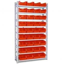 Steckregal, verzinkt, HxBxT 2000x1070x315 mm, 9 Böden, 36 Sichtboxen LB 3 Farbe rot