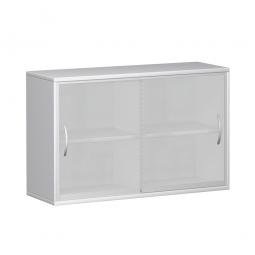 Glas-Schiebetürschrank PRO 2 Ordnerhöhen, weiß, BxHxT 1200x768x425 mm