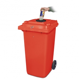 Verschließbarer Müllbehälter mit Flascheneinwurf und Gummirosette, 120 Liter, rot