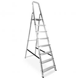 Alu-Bügelleiter mit 8 Stufen, Standhöhe 1640 mm, Arbeitshöhe bis 3640 mm, Gewicht 6,7 kg