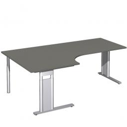 Schreibtisch PREMIUM, Tischansatz links, Graphit/Silber, BxTxH 2000x800/1200x680-820 mm
