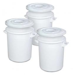 Set-Tonnen, 50 Liter, Ø oben/unten 450/360 mm, Höhe 480 mm, weiß
