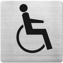 "Hinweisschild ""Behinderten WC"", Edelstahl, HxBxT 90x90x1 mm"