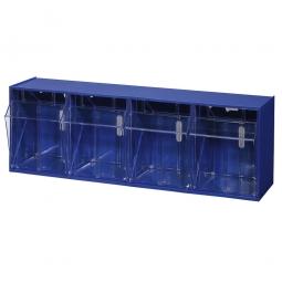 """Kleinteilemagazin """"Blue"""" mit 4 Klarsichtboxen, Set 4, BxHxT 600 x 205 x 170 mm, Behälter je BxTxH 125 x 133 x 128 mm"""