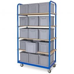 Kommissionierwagen mit 5 Ebenen und 15 Behältern in Farbe grau