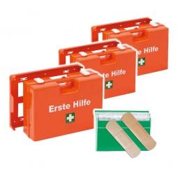 3x Erste-Hilfe-Koffer inklusive 1x Pflasterspender, XXL-Spar-Set, mit Inhalt nach DIN 13157, BxTxH 310 x 130 x 210 mm