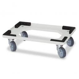 Transportroller für 600 x 400 mm Drehstapelbehälter, offenes Deck, 4 Lenkrollen, graue Gummiräder, natur