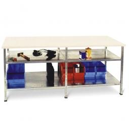 Arbeits- und Packtisch ohne Arbeitsplatte, mit 4 Fachböden, BxTxH 2045 x 620 x 860 mm