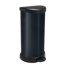 Tretabfalleimer, 40 Liter, HxBxT 697x349x309 mm, Deckel schwarz, Korpus schwarz
