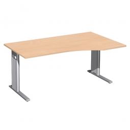 Schreibtisch PREMIUM höhenverstellbar, rechts, Buche/Silber, BxTxH 1600x800/1000x680-820 mm