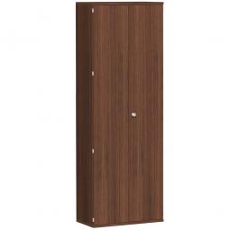 Garderobenschrank PRO, Nussbaum, BxTxH 800x425x2304 mm, 2 Fachböden, 1 Kleiderstange
