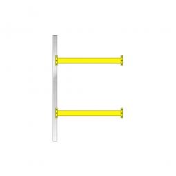Paletten-Anbauregal mit 2 Paar Tragbalken für 6 Europaletten, Fachlast 2400 kg/Tragbalkenpaar, BxTxH 1885 x 1100 x 3000 mm