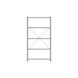 Fachbodenregal Economy mit 5 Böden, Stecksystem, BxTxH 1060 x 535 x 2000 mm, Tragkraft 70 kg/Boden, kunststoffbeschichtet