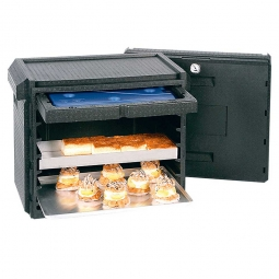 Thermobox für Kuchenbleche und Stapelbehälter mit integriertem Thermometer, Querlader, 155 Liter, LxBxH 760 x 490 x 740 mm