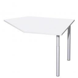 Datenanbautisch PREMIUM links, Weiß/Silber, BxTxH 1060x1225x680-820 mm, höhenverstellbar