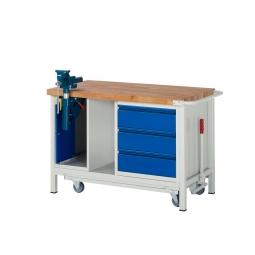"Fahrbare Werkbank ""Profi"" mit Schraubstock + 3 Schubladen, Fahrbar, BxTxH 1250x700x880 mm"