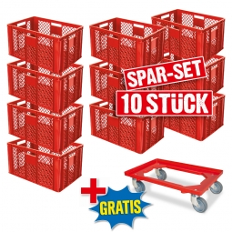 10x Euro-Stapelbehälter + 1 Transportroller GRATIS, Farbe rot, LxBxH 600 x 400 x 320 mm