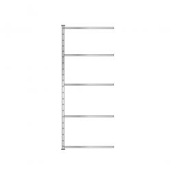 Fachboden-Steck-Anbauregal mit 5 Fachböden, glanzverzinkt, HxBxT 2500x1035x315 mm