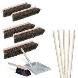Besen-Spar-Set 10-teilig, 5x Arenga-Saalbesen Länge 400 mm, 5x Besenstiel + GRATIS: 1x Kehr-Set