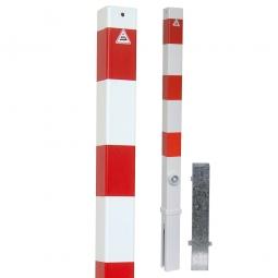 Absperrpfosten, sichtbare Höhe 900 mm, Vierkant 70x70 mm, herausnehmbare Ausführung, mit Bodenhülse