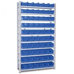 Steckregal, verzinkt, HxBxT 2000x1070x315 mm, 10 Böden, 60 Sichtboxen LB 4 Farbe blau