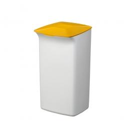 Abfall- und Wertstoffsammler mit Schanierdeckel, HxBxT 640x366x320 mm, 40 Liter, weiß/gelb
