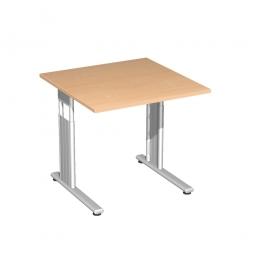 Schreibtisch ELEGANCE feste Höhe, Dekor Buche, Gestell Silber, BxTxH 800x800x720 mm