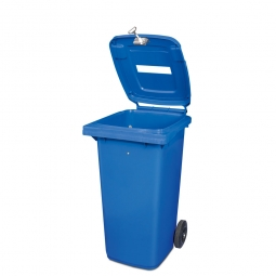 Müllbehälter mit Papiereinwurf, verschließbar, 120 Liter, blau