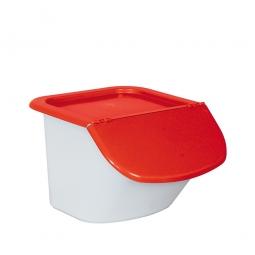 Zutatenbehälter / Zutatenspender, 15 Liter, LxBxH 440 x 400 x 280 mm, weiß/rot