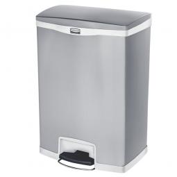 Tretabfalleimer SlimJim, 90 Liter, Edelstahl, weiß, LxBxH 554x413x809 mm, Pedal an der Breitseite