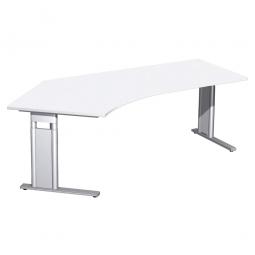 Schreibtisch PREMIUM höhenverstellbar, 135° links, Weiß/Silber, BxTxH 2166x800/1130x680-820 mm