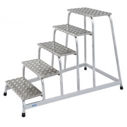 Leichtmetall-Montagetritt, mit 5 Stufen, Standhöhe 1000 mm, Arbeitshöhe bis 3000 mm, Gewicht 14 kg