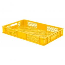 Durchbrochener Eurobehälter mit 2 Durchfassgriffen, LxBxH 600x400x90 mm, 15 Liter, gelb