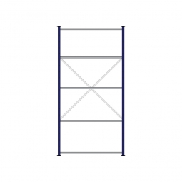 Fachbodenregal Flex mit 5 Fachböden, Stecksystem, kunststoffbeschichtet, BxTxH 1270 x 515 x 2500 mm, Tragkraft 100 kg/Boden