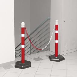 Ketten- / Warnständer Komplett-Set mit 2 Kettenständern, 2 m Kette, 1000 mm hoch, Kunststofffuß betongefüllt